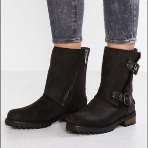 UGG Australia Niels II Black Moto Leather Boots